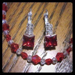 Hand strung red swarvoski crystals necklace